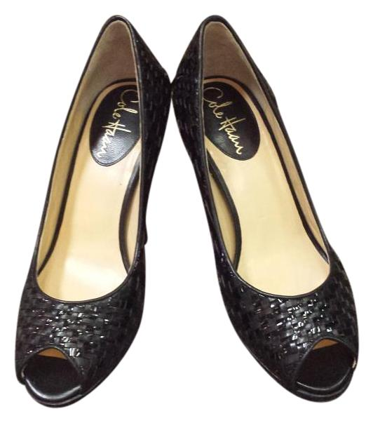 Cole Haan Black Woven Leather Peep Toe with Nike Air 6.5 Soles Pumps Size US 6.5 Air Regular (M, B) f875db