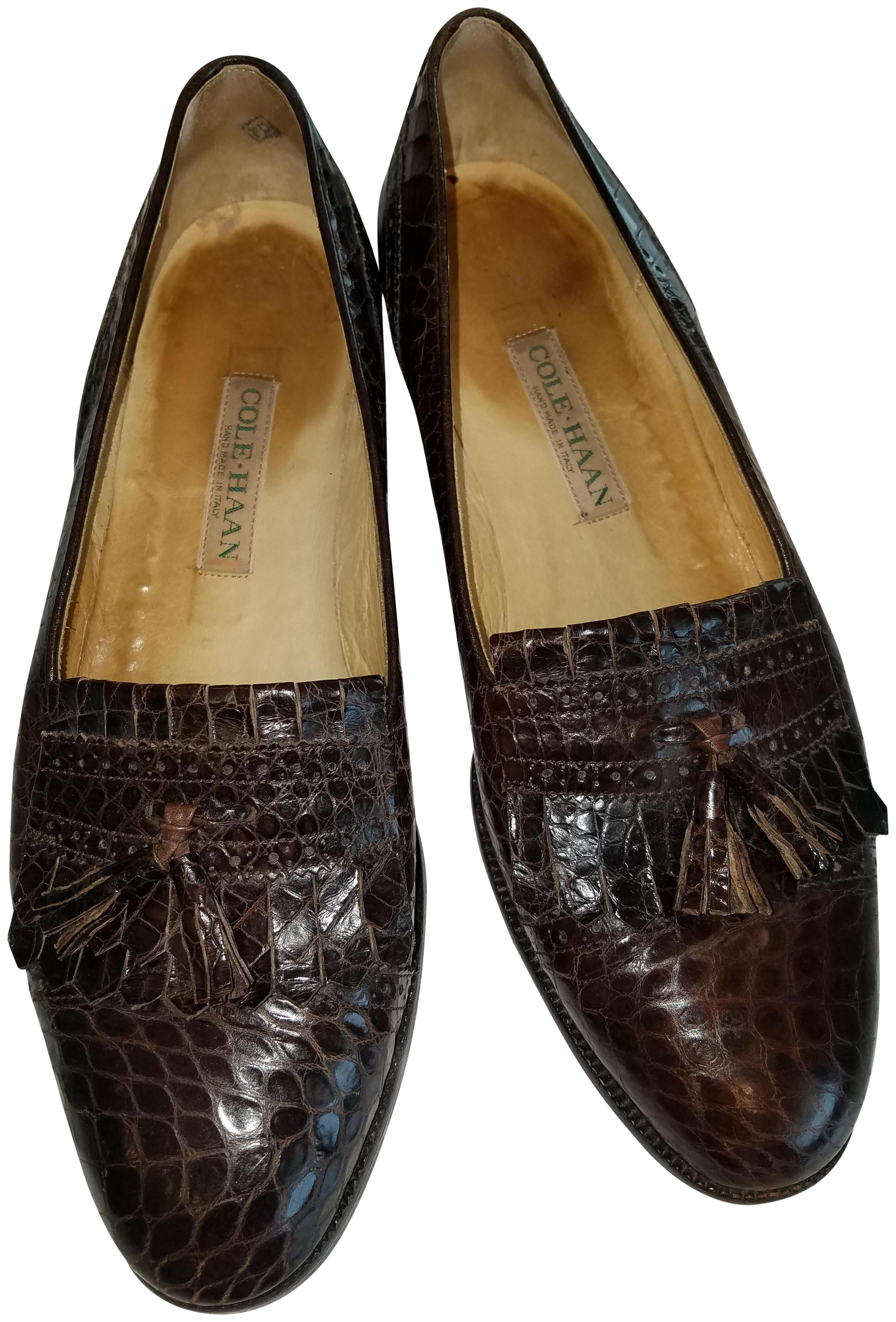 Cole Haan Brown Alligator Genuine with Kiltie and Tassel Flats Size US 9.5 Regular (M, B)