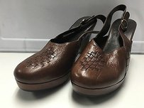 Cole Haan Round Toe Buckle Fasten Ankle Strap Woven Detail 3042 Brown Mules