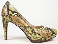 Cole Haan Leather Chelsea Platform Heels Lemon Snake Print Pumps