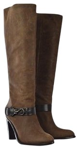 Cole Haan Womens Knee High B Leather Block Heel Casual Brown Boots