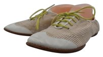 Cole Haan Womens Lace Up Loafers 9b Striped Casual Pink, Ivory Flats