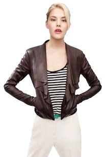 Cole Haan Leather Chocolate Leather Jacket