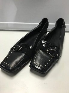 Cole Haan Square Toe Perforated Buckle Detail Loafers B3142 Black Flats