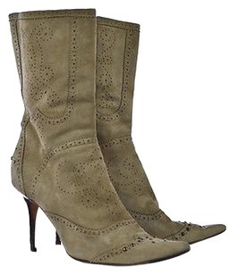 Cole Haan Womens Taupe Mid Calf Studded Heels Beige Boots