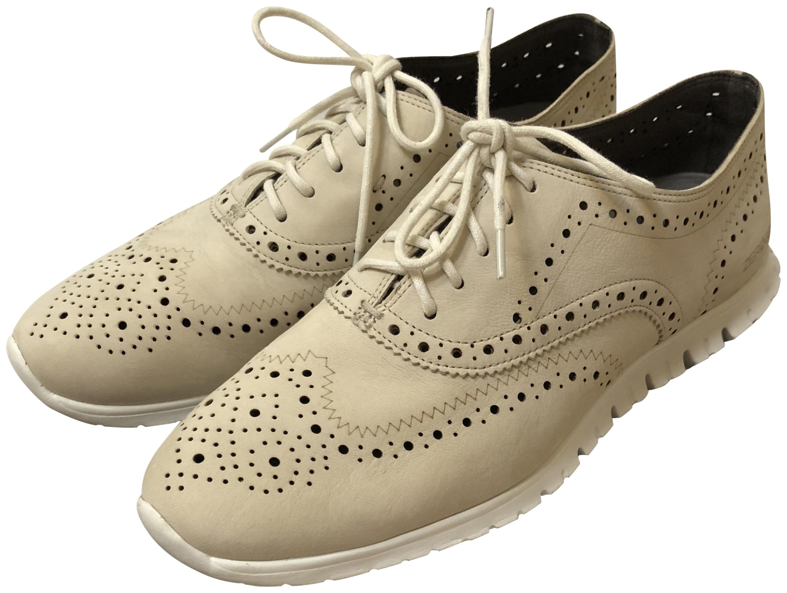 Cole Haan Oat Nubuck/Wht Zerogrand Wing Ox Sneakers Size US 8.5 Regular (M, B)