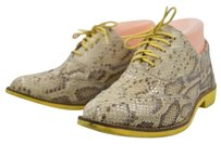 Cole Haan Womens Animal Print Lace Up Oxfords Leather Tan Flats