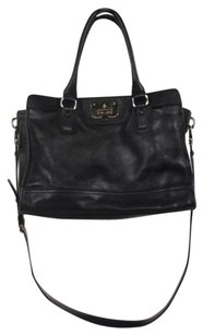 Cole Haan Womens Handbag Leather Satchel in Black
