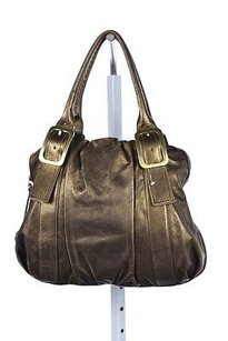 Cole Haan Womens Metallic Leather Handbag Satchel in Brown