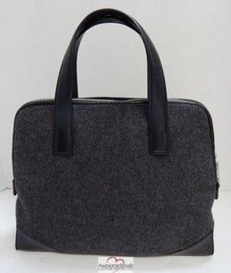 Cole Haan Charcoal Wool Black Leather Satchel in Gray
