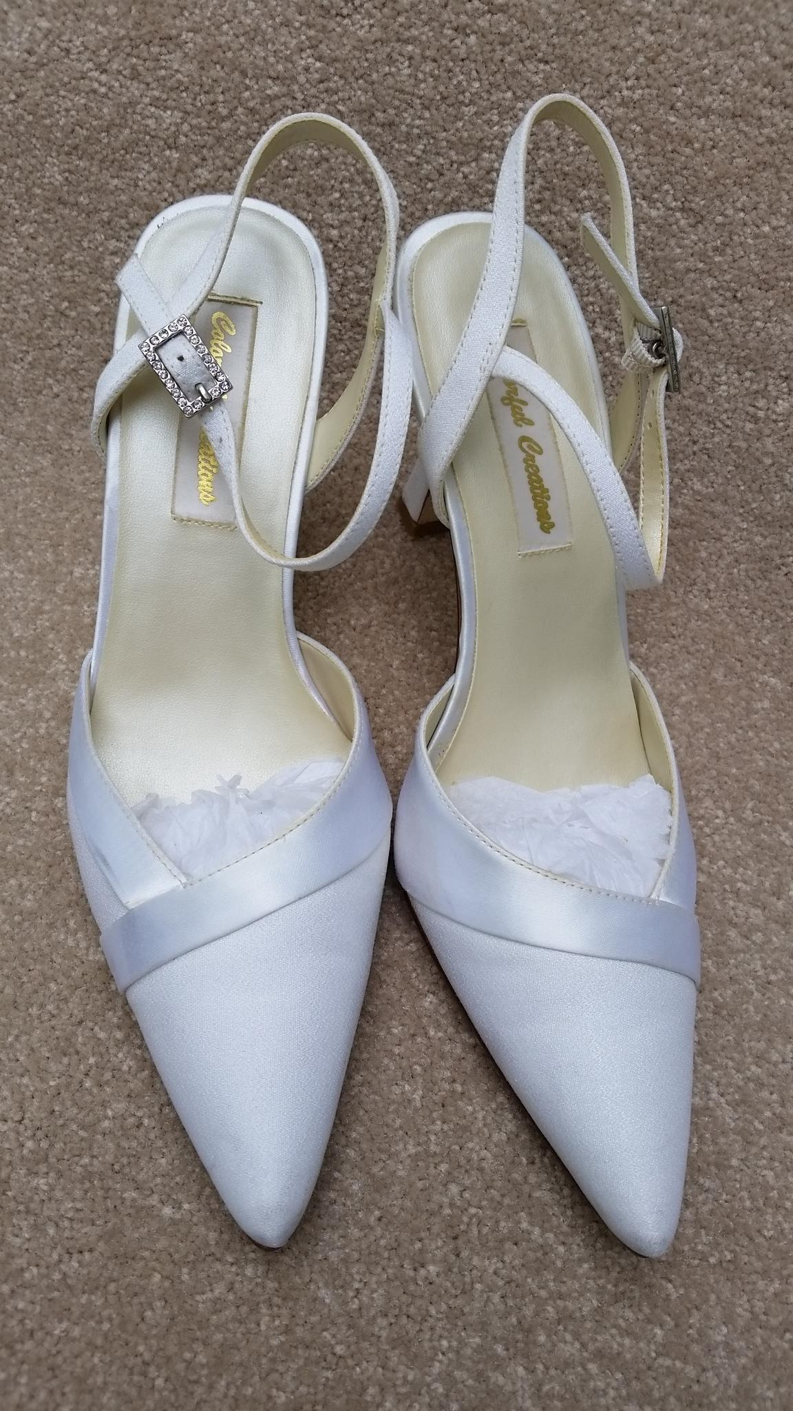 Colorful Creations Ivory Luxe/satin Bridal Heels Wedding ...