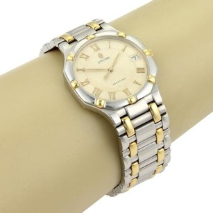 Concord Concord Mens Saratoga Date Quartz Watch In 18k Yellow Gold Stainless Steel
