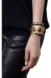 Condemned to Be Free Leopard & Garnet Beaded Gold Leather Cuff