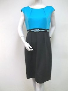 Connected Apparel Connected Black Turquoise Color Block Knit Belted Sheath Dress