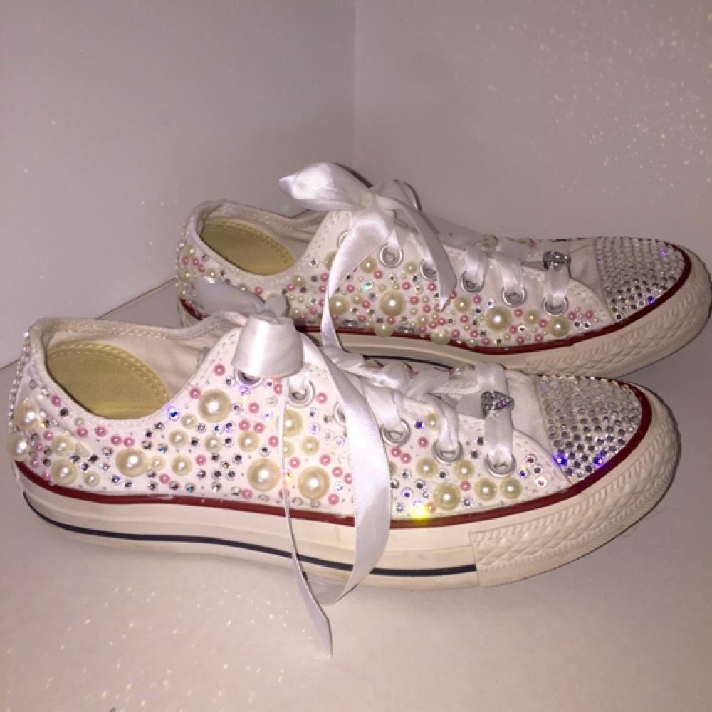 Converse white with pearls and rhinestones pants size jpg 440x440 Converse wedding  shoes 124e657f33ad