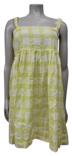 Cooperative short dress beige-yellow Plaid Sleeveless Urban Outfitters on Tradesy