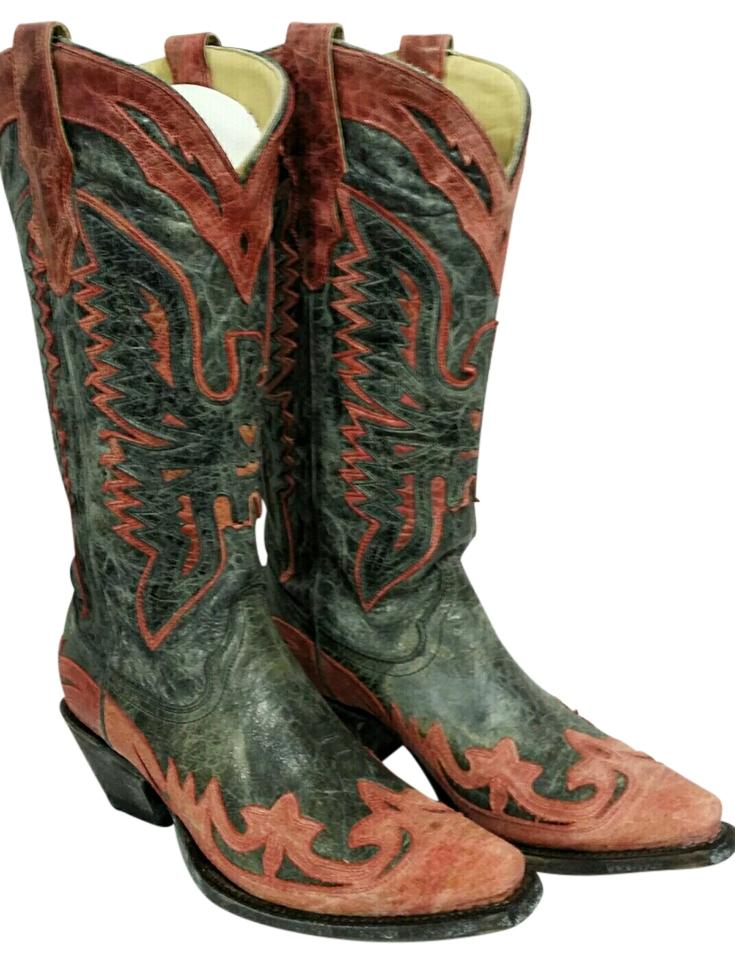 Corral Boots Antique Black/Red Eagle Outlay Snip Toe Boots | Boots ...