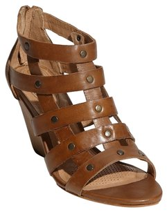 Ballasox by Corso Como Leather Wedge Sandal Studded Cognac Wedges