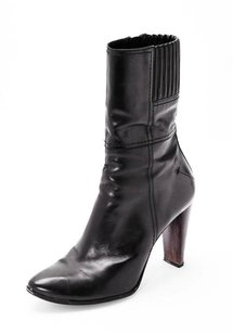 CoSTUME NATIONAL Leather High Heel Ankle Black Boots
