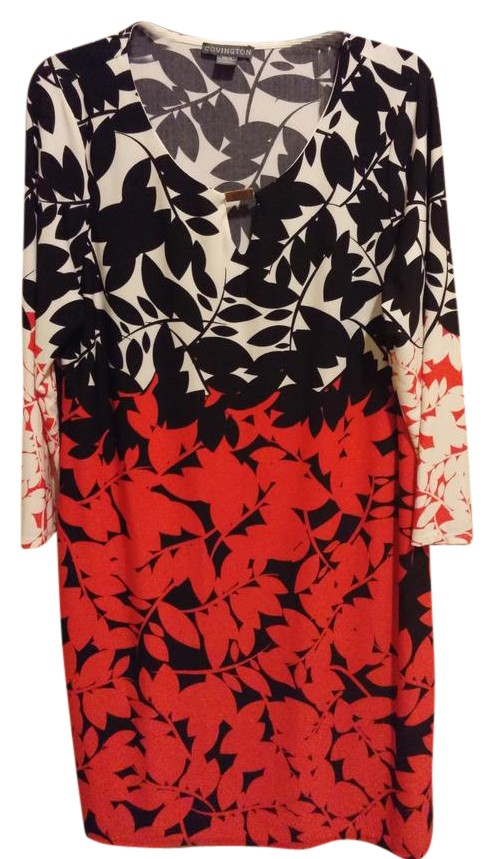 covington red black and white floral dress