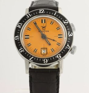 Croton Croton Dive Alarm Mens Mechanical Watch Stainless Steel Orange Quick Date