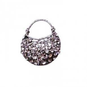 Cubic Zircon Purse Brooch Very Cute Brooches Silver Casting Pin Brooch
