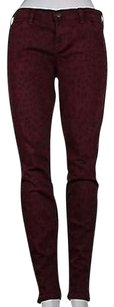 Current/Elliott Womens Burgundy Animal Print Blend Pants
