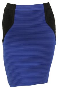 Cut25 Knit Bandage Pencil Colorblock Mini Skirt Blue, Black