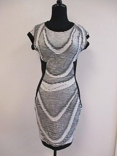 Cut25 White Striped Ruffled Capped Sleeve Stretch Bodycon O452 Dress