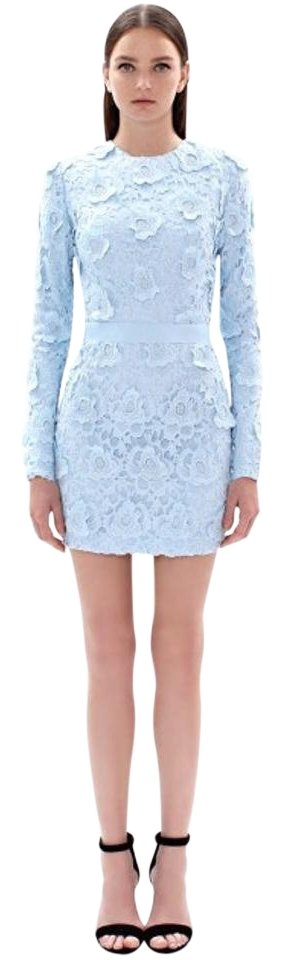 Cynthia Rowley Baby Blue Rosette Lace Open Back Knee Length Night
