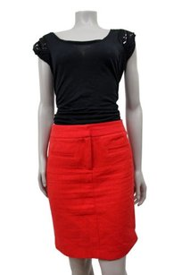 Cynthia Rowley Pencil Front Pockets Skirt Red