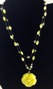 Dabby Reid Dabby Reid Yellow Carved Rose Beaded Necklace 1990s Vintage 28