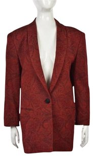 Dana Buchman Dana Buchman Womens Red Paisley Blazer Long Sleeve Wool Blend Jacket