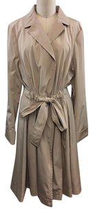 Dana Buchman Ruched Waist Tie Around Raincoat