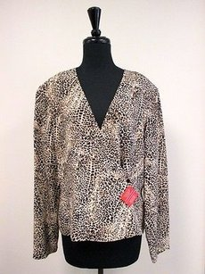 Dana Buchman 100 Silk Animal Top Multi-Color