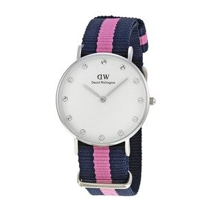 Daniel Wellington Classy Winchester White Dial Navy Pink Stripe Ladies Watch 0962DW