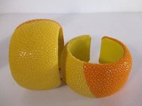 DANNIJO Dannijo Loma Colorblock Stingray Cuff Bracelet Orange Yellow