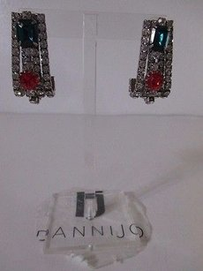 DANNIJO Dannijo Red Green Crystal Antique Silver Hook Earrings