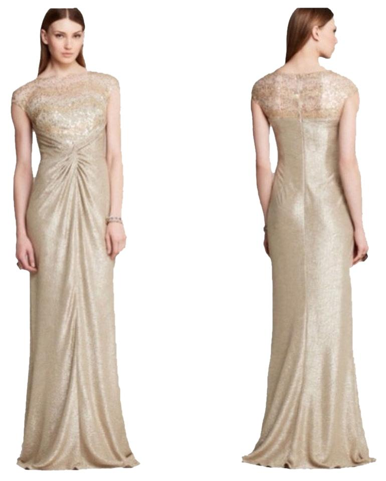 David Meister Gold Sequined Evening Gown