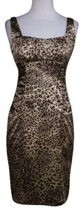 David Meister Womens Brown Animal Print Silk Formal Dress