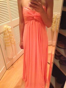 David's Bridal Coral Long Sheer Chiffon Dress With Beaded Neckline Style: F14867 Dress