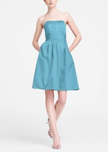 David's Bridal Blue Malibu 83312 New W/ Tags Short Strapless Pleated Bodice & Waist Dress