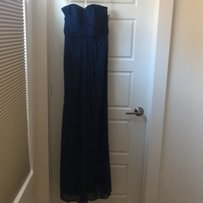 David's Bridal Marine Chiffon Long Strapless and Pleated Bodice Formal Bridesmaid/Mob Dress Size 0 (XS)