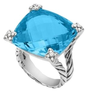 David Yurman Cushion On Point Ring with Blue Topaz and Diamonds, 20 mm