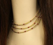 David Yurman David Yurman 14k Yellow Gold Coral Bead Triple Cable Strand Choker Necklace