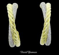David Yurman David Yurman 18k Two Tone Gold Diamond Hoop Earrings E323