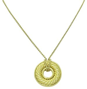 David Yurman David Yurman 18k Yellow Gold Cable Disk Pendant 16 Box Chain Necklace N317