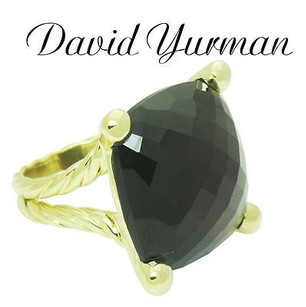 David Yurman David Yurman 18k Yellow Gold Cushion Faceted Garnet Split Shank Cable Ring R508