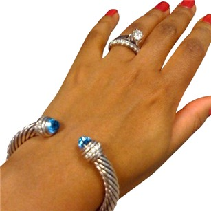 David Yurman David Yurman 7mm diamond blue topaz bracelet