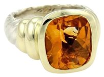 David Yurman David Yurman Albion Silver 14k Yellow Gold Citrine Cable Ring size 7